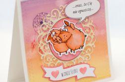 Kartka ślubna ze świnkami na wesoło KS18019