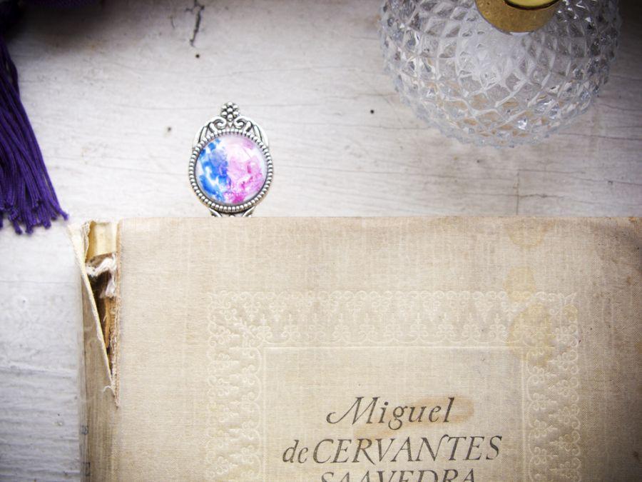 Metalowa zakładka, malowane szkło, pastele