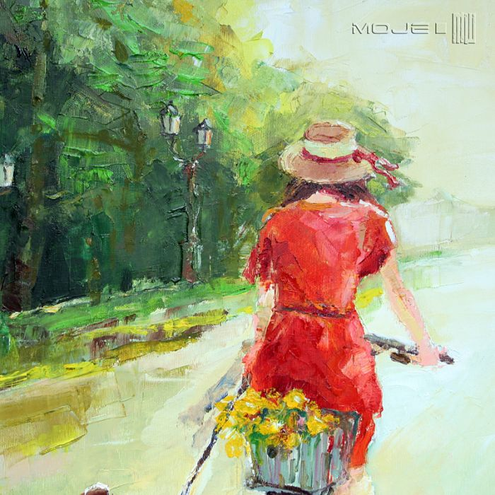 Letni spacer z przyjacielem - dziewczyna na rowerze
