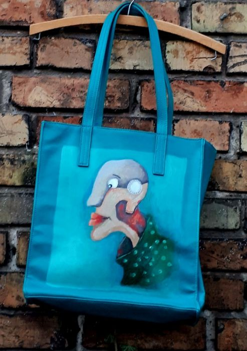 piekna torebka turkusowozielona  malowana