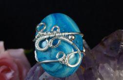 Srebrny pierścionek z agatem crazy lace