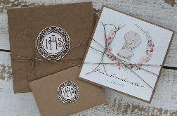 Kartka komunijna z pudełkiem i kopertą