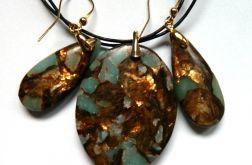Amazonit z bornitem, ekskluzywny zestaw,złoto