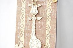 Kartka urodzinowa w dużym formacie z żyrafą brązowa
