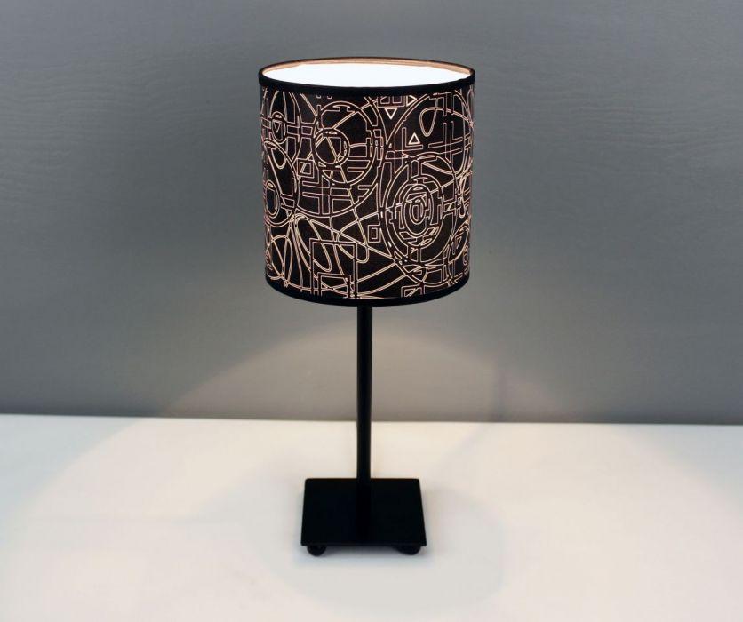 """Czarno-biała lampa nocna stojąca """"wYOBRAŻAJ""""  - pobudza wyobraźnię w dzień i w nocy"""