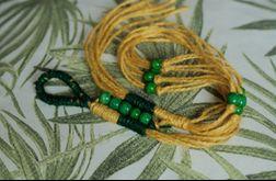 kwietnik wiszący makrama juta żółty zielony
