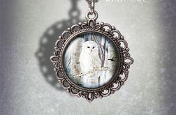 Medalion Biała sowa - White owl - zdobiony