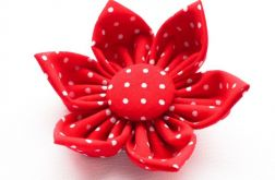 Spinka do włosów kwiatek czerwony w kropeczki
