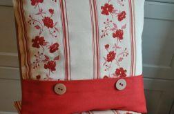 Komplet poszewek - haftowane bordowe kwiaty + guziki