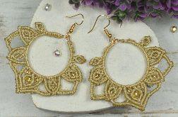 Oryginalne kolczyki boho - beż i złoto
