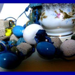 Blue and white - bransoletka i kolczyki