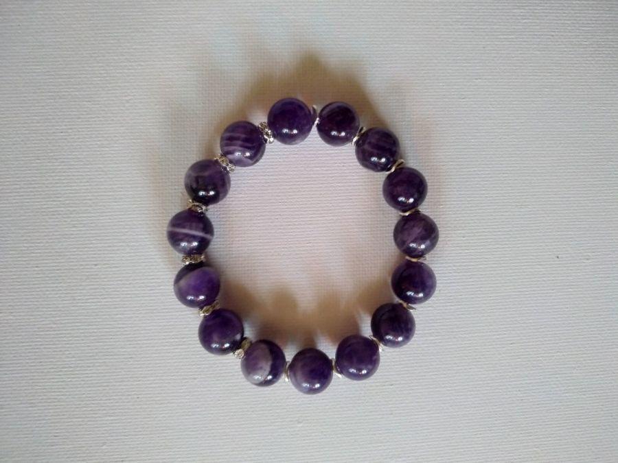 Bransoletka z dużych kryształów ametystów - Elastyczna bransoletka z ametystów