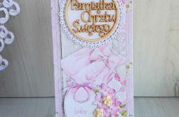 Kartka DL Chrzest Święty, różowa GOTOWA