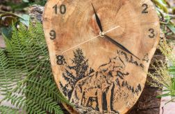 A03 - Zegar drewniany z żywicą epoksy Wilk