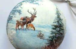 Bombka duża medalion zimowe widoki 1
