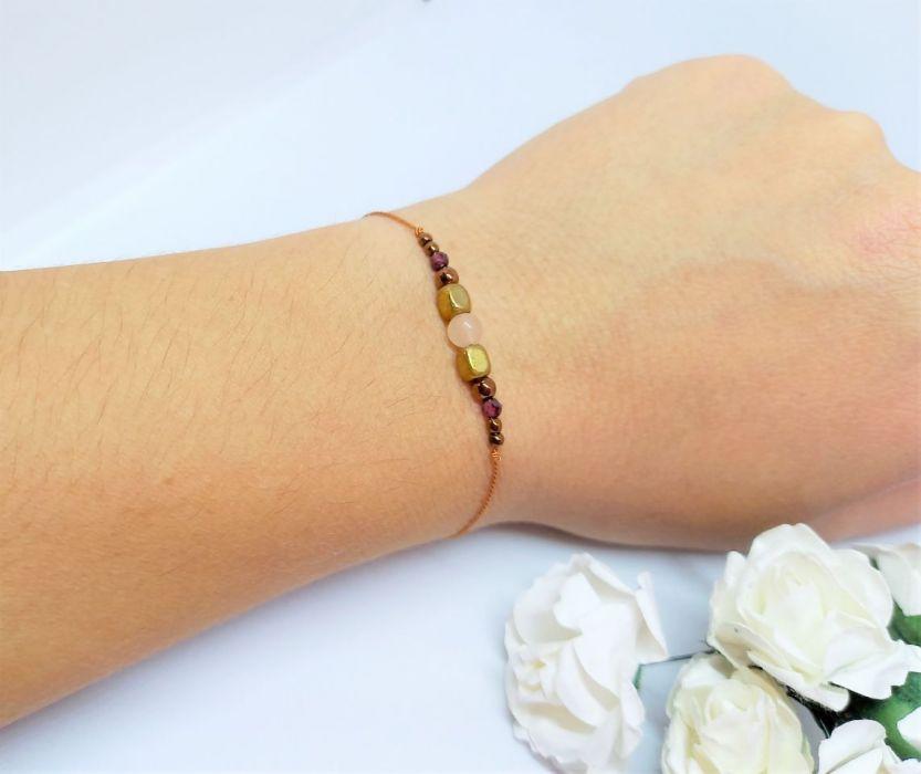 Bransoletka mocy Jesień na nitce jedwabnej - Biżuteria na prezent na nitce z naturalnymi kamieniami dla żony, narzeczonej, dziewczyny, kobiety, mamy, córki, siostry, przyjaciółki