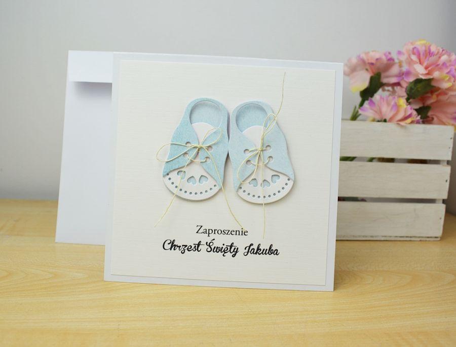 ZAPROSZENIA na chrzest - Błękitne buciki