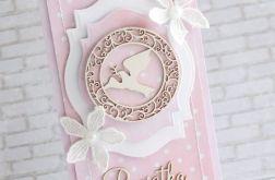 Komplet na chrzest z gołąbkiem w różu