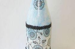 Butelka niebieska z czarną koronką