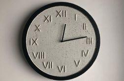Zegar Betonowy Roman Biały Czarny Złoto