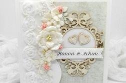 Piękna kartka ślubna z koronką beżowo biała
