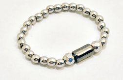 Pierścionek elastyczny z Hematytu srebrnego8