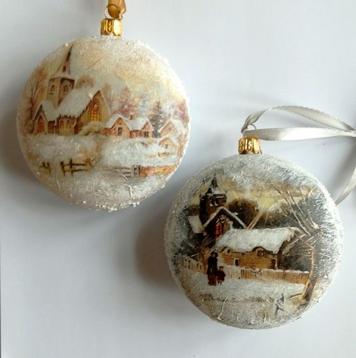 Bombka medalion zimowe widoki