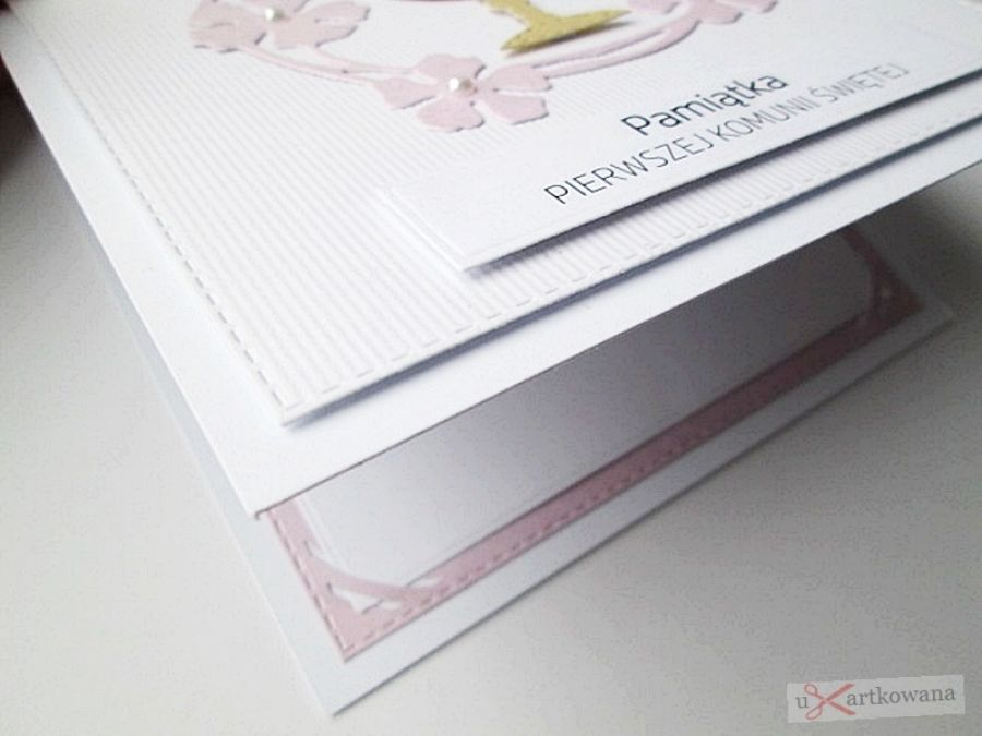 Kartka PAMIĄTKA I KOMUNII biało-różowa #6 -