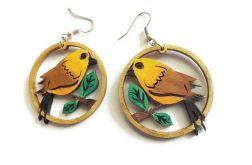 Kolczyki drewniane, malowane - Ptaki