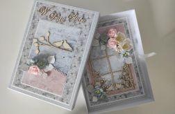 Kartka na Ślub ręcznie robiona duża A5 z pudełkiem okno ptaszki