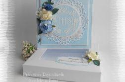 Kartka komunijna IHS,niebieska