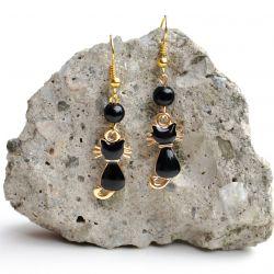 Kolczyki z kotkiem czarno-złote BOHO prezent