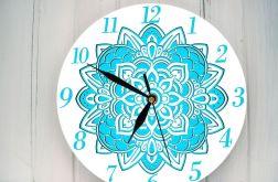Zegar Ścienny Mandala Turkusowa
