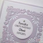 Kartka PAMIĄTKA CHRZTU biało-fioletowa #1 /Z - Ażurowa kartka na Chrzest Święty