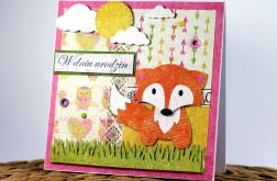 Kartka urodzinowa dla dziecka lis2