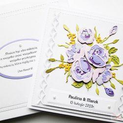Kartka ŚLUBNA z fioletowymi różami
