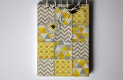 Notes patchworkowy z guzikiem