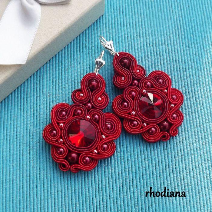 Rubinowe LOVE- wyjątkowy naszyjnik - Naszyjnik i kolczyki sutasz  kolor rubinowy czerwony wiśniowy kolczyki- Rhodiana