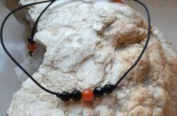 Bransoletka handmade kamienie naturalne onyks jadeit Halloween czarna pomarańczowa