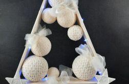 Drewniana choinka w bieli hand made Led