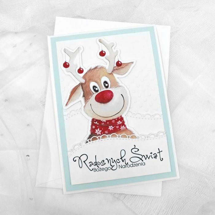 Świąteczna kartka z wesołym reniferem BNR 018 - Świąteczna kartka z wesołym reniferem (2)