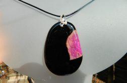 Czarny agat z kryształem, duży wisior