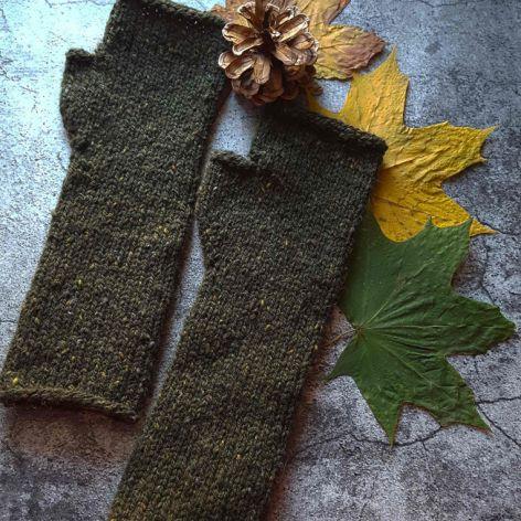 Mitenki wełniane Tweed leśna zieleń