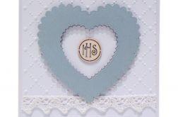 Pamiątka Komunii Św. niebieskie serce IHS