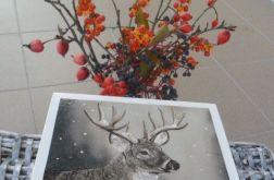 Zimowy kuferek z jeleniem