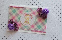 Kartka roczek fioletowa + koperta