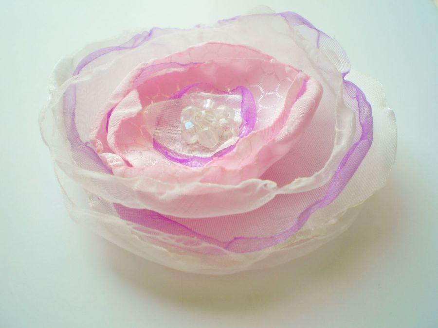 Broszka kwiat  różowy z liliowym