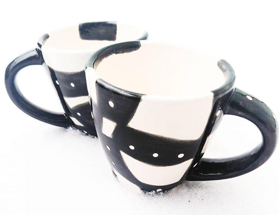 Filiżanki ceramiczne - Black&White -