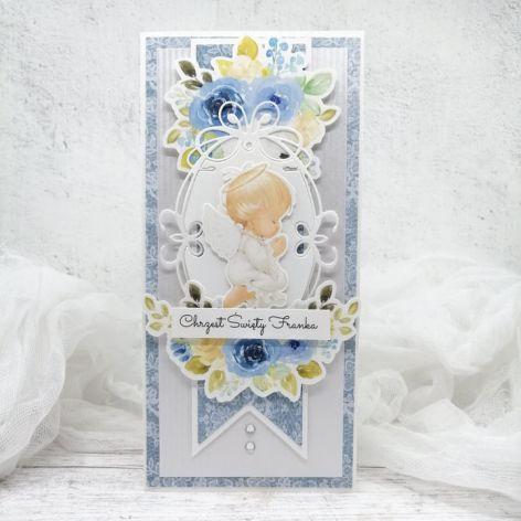 Kartka na Chrzest dla chłopca aniołek