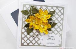 Kartka MŁODEJ PARZE z żółtymi kwiatami